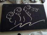 Custom Three Sheep floor rug by Real Shetland